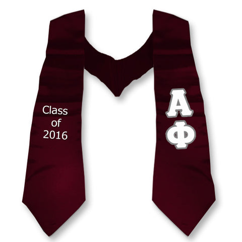 Alpha Phi Graduation Stole with Twill Letters - TWILL