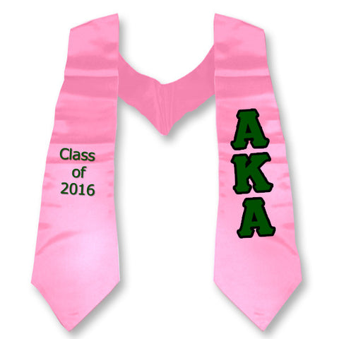 Alpha Kappa Alpha Graduation Stole with Twill Letters - TWILL