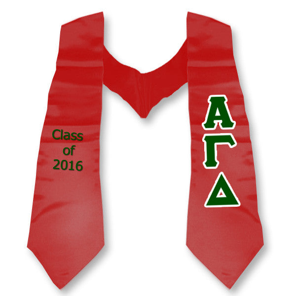 alpha gamma delta graduation stole with twill letters twill
