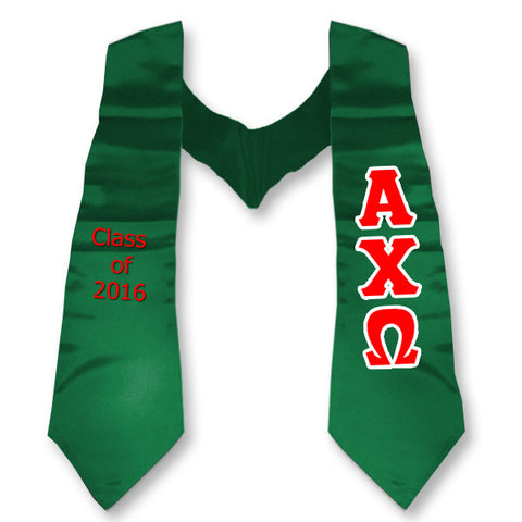 Alpha Chi Omega Graduation Stole with Twill Letters - TWILL