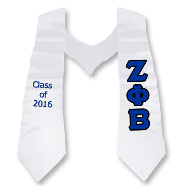 Zeta Phi Beta Graduation Stole with Twill Letters - TWILL