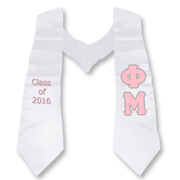 Phi Mu Graduation Stole with Twill Letters - TWILL