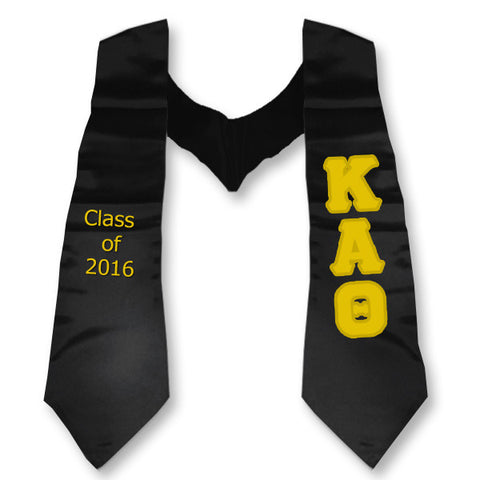 Kappa Alpha Theta Graduation Stole with Twill Letters - TWILL