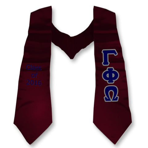 Gamma Phi Omega Graduation Stole with Twill Letters - TWILL