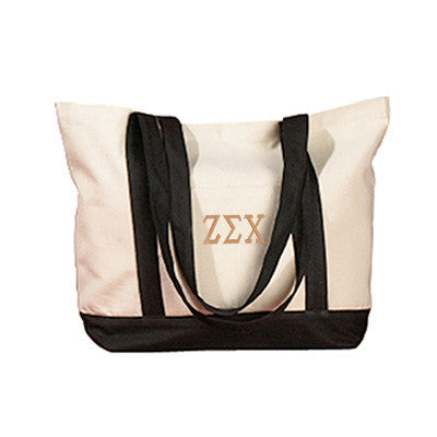 Zeta Sigma Chi Sorority Embroidered Boat Tote - Bag Edge BE004 - EMB