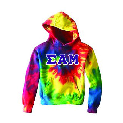 Fraternity Tie-Dye Hooded Sweatshirt with Twill Letters - Gildan CD877 - TWILL