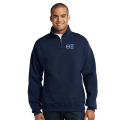 Theta Xi Fraternity Embroidered Quarter-Zip Pullover - Jerzees 995M - EMB