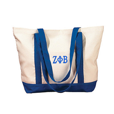 Zeta Phi Beta Sorority Embroidered Boat Tote - Bag Edge BE004 - EMB
