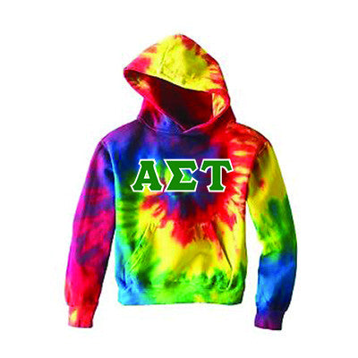Sorority Tie-Dye Hooded Sweatshirt with Twill Letters - Gildan CD877 - TWILL