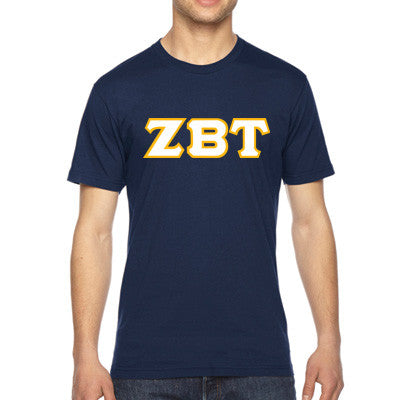 Zeta Beta Tau American Apparel Jersey Tee with Twill - American Apparel 2001W - TWILL
