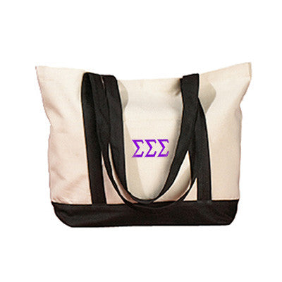 Sigma Sigma Sigma Sorority Embroidered Boat Tote - Bag Edge BE004 - EMB