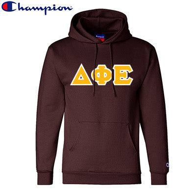 Delta Phi Epsilon Champion Hooded Sweatshirt - Champion S700 - TWILL