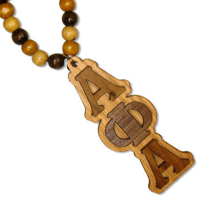 Greek Wooden Tiki with Bead Necklace - WBTL
