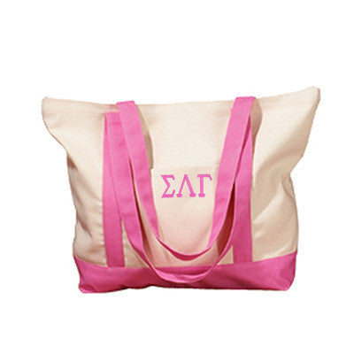 Sigma Lambda Gamma Sorority Embroidered Boat Tote - Bag Edge BE004 - EMB