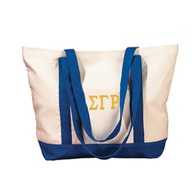 Sigma Gamma Rho Sorority Embroidered Boat Tote - Bag Edge BE004 - EMB