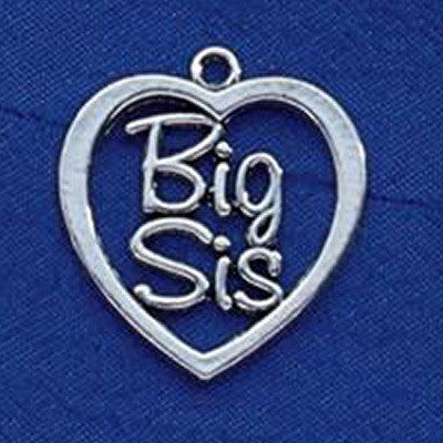 Sorority Big Sis Heart Charm - Campus ID cid247 or 248B