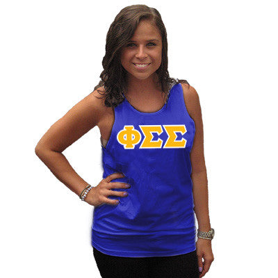 Phi Sigma Sigma Sorority Unisex Tank Top with Twill - Next Level 3633 - TWILL