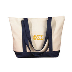 Phi Sigma Sigma Sorority Embroidered Boat Tote - Bag Edge BE004 - EMB