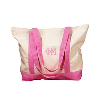 Phi Mu Sorority Embroidered Boat Tote - Bag Edge BE004 - EMB