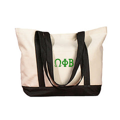 Omega Phi Beta Sorority Embroidered Boat Tote - Bag Edge BE004 - EMB