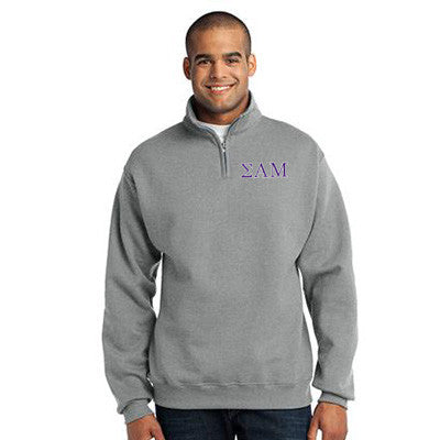 Sigma Alpha Mu Fraternity Embroidered Quarter-Zip Pullover - Jerzees 995M - EMB