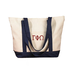 Gamma Phi Omega Sorority Embroidered Boat Tote - Bag Edge BE004 - EMB