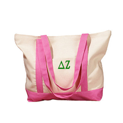 Delta Zeta Sorority Embroidered Boat Tote - Bag Edge BE004 - EMB