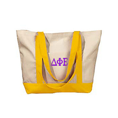 Delta Phi Epsilon Sorority Embroidered Boat Tote - Bag Edge BE004 - EMB