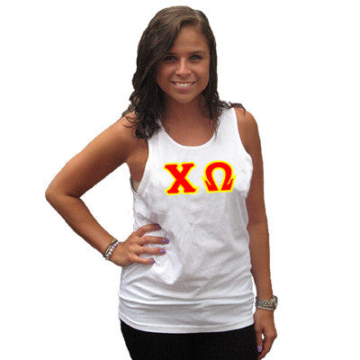 Chi Omega Sorority Unisex Tank Top with Twill - Next Level 3633 - TWILL