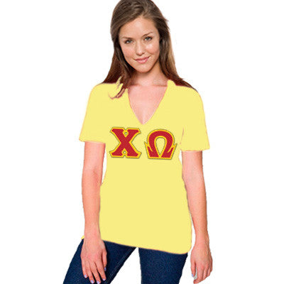 Chi Omega Sorority V-Neck with Horizontal Twill Letters - American Apparel 2456W - TWILL