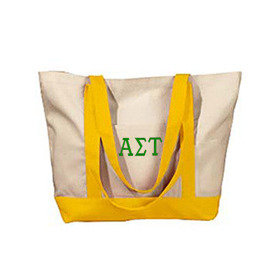 Alpha Sigma Tau Sorority Embroidered Boat Tote - Bag Edge BE004 - EMB