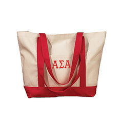 Alpha Sigma Alpha Sorority Embroidered Boat Tote - Bag Edge BE004 - EMB