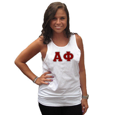 Alpha Phi Sorority Unisex Tank Top with Twill - Next Level 3633 - TWILL
