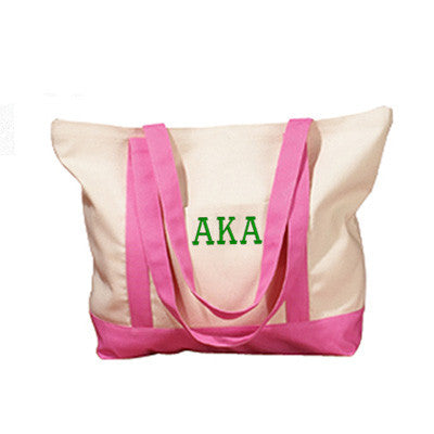 Alpha Kappa Alpha Sorority Embroidered Boat Tote - Bag Edge BE004 - EMB