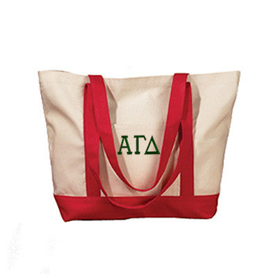 Alpha Gamma Delta Sorority Embroidered Boat Tote - Bag Edge BE004 - EMB