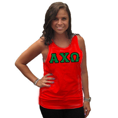 Alpha Chi Omega Sorority Unisex Tank Top with Twill - Next Level 3633 - Twill