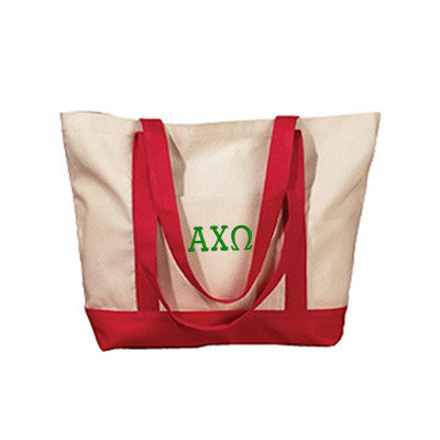 Alpha Chi Omega Sorority Embroidered Boat Tote - Bag Edge BE004 - EMB