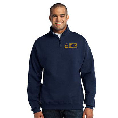 Delta Kappa Epsilon Fraternity Embroidered Quarter-Zip Pullover - Jerzees 995M - EMB