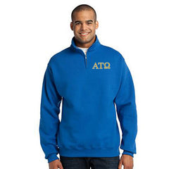 Alpha Tau Omega Fraternity Embroidered Quarter-Zip Pullover - Jerzees 995M - EMB