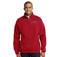 Alpha Sigma Phi Fraternity Embroidered Quarter-Zip Pullover - Jerzees 995M - EMB