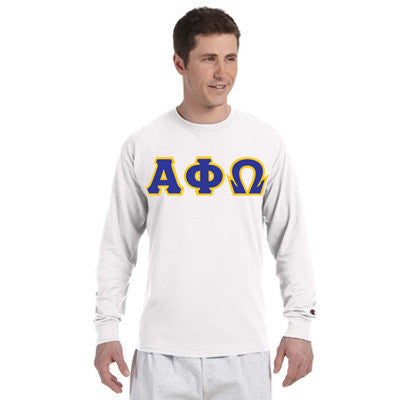 Alpha Phi Omega Greek Champion Long-Sleeve Tee - Champion CC8C - TWILL