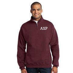 Alpha Chi Rho Fraternity Embroidered Quarter-Zip Pullover - Jerzees 995M - EMB