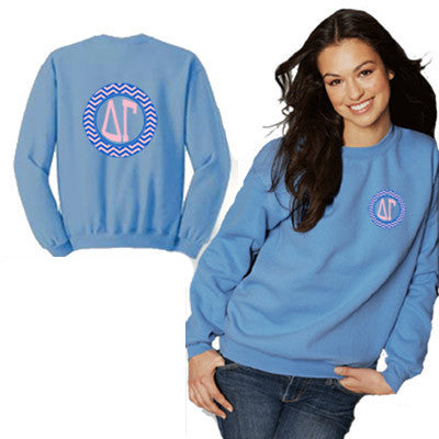 Sorority Printed Chevron Crewneck Sweatshirt - Gildan 18000 - CAD