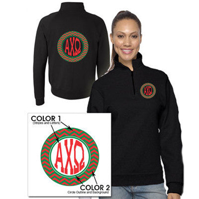 Sorority Chevron Printed Quarter-Zip Pullover - Jerzees 995M - CAD