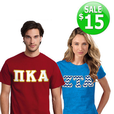 Greek $15 Google Deal - Sewn-On Twill Letter T-Shirt