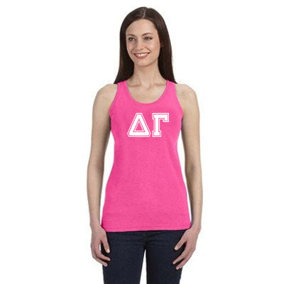 Sorority Varsity Letter Printed Tank - Comfort Colors C9360 - CAD