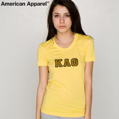 Sorority Jersey Tee with Twill Letters - American Apparel 2102 - TWILL