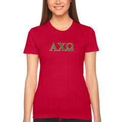 Alpha Chi Omega Embroidered Jersey Tee - American Apparel 2102W - EMB