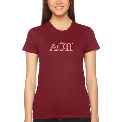 Alpha Omicron Pi Embroidered Jersey Tee - American Apparel 2102W - EMB