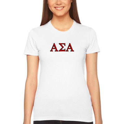 Alpha Sigma Alpha Embroidered Jersey Tee - American Apparel 2102W - EMB